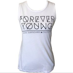 3/$15 Jacks surfboards forever young tank top